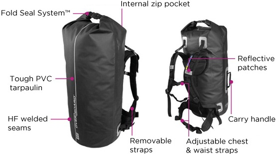 Гермомешок с лямками OverBoard Waterproof Backpack Dry Tube with Window 60L